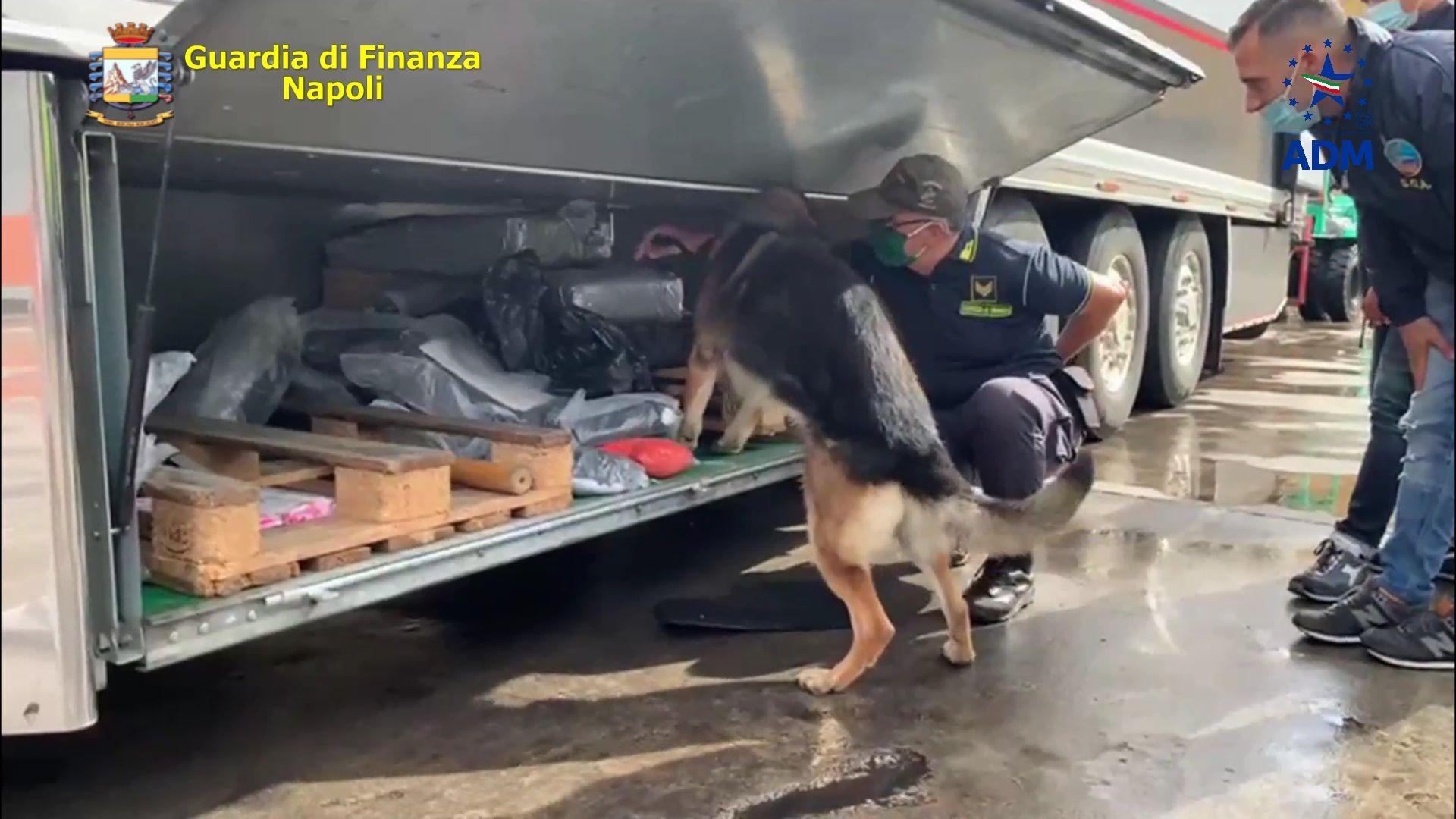 Sequestrati al porto di Napoli 130 kg di hashish, due arresti