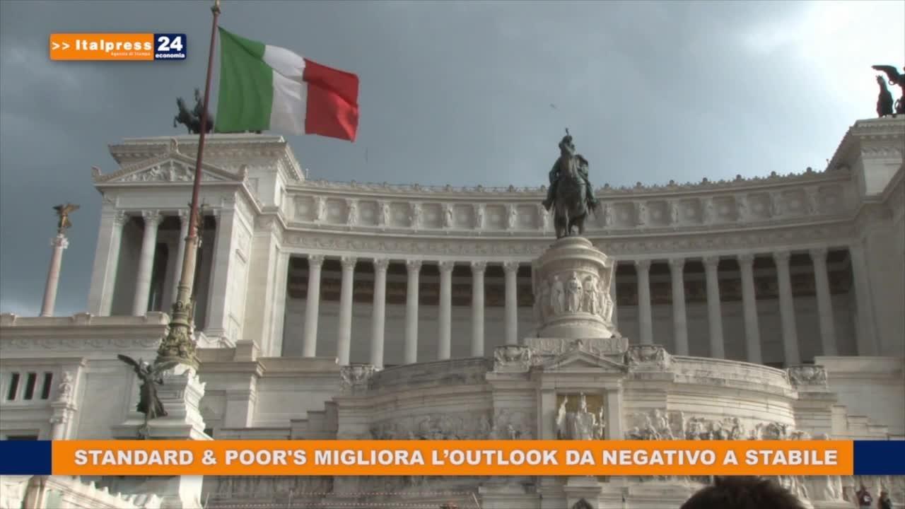S&P migliora l'outlook dell'Italia da negativo a stabile